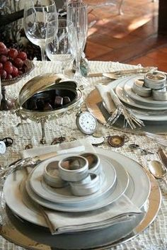 Fabulous New Year's Tablescape….Love the Round Boxes Filled with…