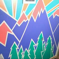 Geometric mountain design for interior wall painting or mural. Painting ideas, mountains, alpenglow, sunset, sunrise, paint design, mural, geometric, abstract, modern, edgy. Just finished up with my bathroom painting, and so pleased! Frog Tape was the key to the crisp lines!