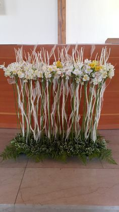 Easter church decor except with lilies and white roses Altar Flowers, Church Flower Arrangements, Church Flowers, Beautiful Flower Arrangements, Flower Centerpieces, Floral Arrangements, Beautiful Flowers, Deco Floral, Arte Floral