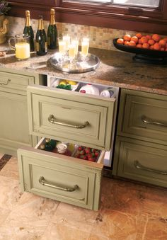Refrigerator drawers. If you've got to have an under-cabinet fridge, let it be drawers!
