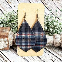 Blue Tartan Plaid Leather Earrings, Plaid Cork on Leather Earrings, Traditional Plaid Earrings, Christmas Earrings, Classic Earrings by whiteshedcreations on Etsy