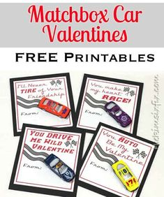 Free Printables for Adorable Matchbox Car Valentines: A great candy free school valentine idea