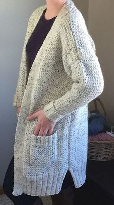 Free Knitting Pattern for Four Row Repeat Long Weekend Cardigan - This long-sleeved sweater can be knit in 3 different lengths and features a 4 row repeat Basket Rib Pattern. Sizes XS to 5X Designed by Patons. Pictured project by NovelKnitGirl