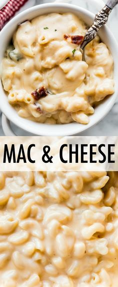 Extra CREAMY and easy homemade macaroni and cheese with bacon, white cheddar, an… Extra CREAMY and easy homemade macaroni and cheese with bacon, white cheddar, and spinach. True comfort food and the best mac and cheese recipe! Kids Mac And Cheese Recipe, Gourmet Mac N Cheese Recipe, Cheddar Mac N Cheese Recipe, Macaroni And Cheese Bacon, Spinach Mac And Cheese, Bake Mac And Cheese, Mac Cheese Recipes, Bacon Recipes, Gourmet Recipes
