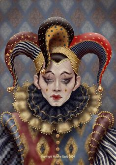 *CIRCUS is back in TOWN ~ Jesters Maxine Gadd published fairy fantasy artist Jester Costume, Jester Hat, Court Jester, Fantasy Kunst, Fantasy Art, Steampunk Kunst, Venetian Masks, Maquillage Halloween, Fairy Art