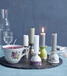 Kerzenständer aus alten Eierbechern.                                                                                                                                                                                 Mehr