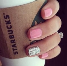 Really starting to like this look! Thinking my next mani and pedi will be like this- grey polish and a gold glitter?