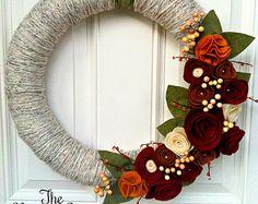 Fall wreath, Yarn Wreath, Fall Decor, Felt Flower Wreath, Holiday Wreath, Front…