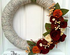 Fall wreath, Yarn Wreath, Fall Decor, Felt Flower Wreath, Holiday Wreath, Front Door Decor, Mantel Decor, Thanksgiving Wreath, 10 Inches... Would look great on the french doors to the deck.