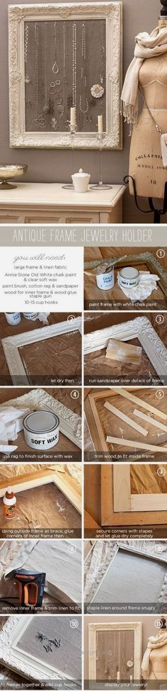 Magnificent DIY Antique Frame Jewelry Holder | Click Pic for 20 Dollar Store Crafts for Home Decor Ideas for Cheap | DIY Home Decor Hacks Tips and Tricks The post DIY Antique .. #jewelrydiyhacks