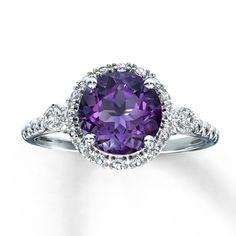 372944900 - Amethyst Ring Lab-Created Sapphires Sterling Silver