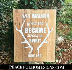 Woodland theme sign for little boys room or nursery | Boy nursery decor | boys room sign | little boy scripture sign | baby boy scripture on wood | Luke 1:80 sign | wooden sign with bible verse boy
