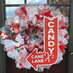 White and Red Welcome to Candy Cane Lane Deco Mesh Holiday Wreath Deco Wreath by Linda