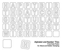 This alphabet is in uppercase and the bold letters are ideal for stamping and decorating. Use these letters in your card making and scrapbook projects.