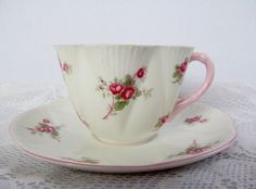Vintage Shelley  Cup And Saucer Bridal Rose by WalkersWimseys, $39.00