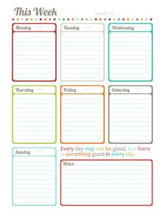 Free Printable This Week one page calendar, planner by Erin Rippy