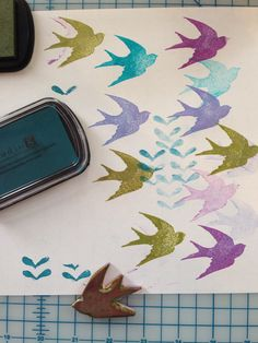 Sparrows stamp - playing with colors
