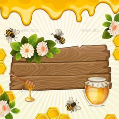 Buy Background with Bees and Honey. Beautiful Background with Bees,Honey,Jar, Flowers and Honeycomb on Wood Banner Honey Logo, Bee Drawing, Picnic Birthday, I Love Bees, Bee Embroidery, Zeina, Bee Cards, Bee Theme, Diy And Crafts