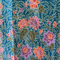 blue tone  and flowers  pure cotton traditional Indonesian Batik style,batik sarong fabric. by TheThailand on Etsy