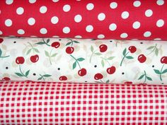 """Cherries AND polka dots! The best combination ever! Check out my new quilt called """"Cherries-N-Tea, Sweet As Can Be!"""" @www.ohmybloominthreads.com"""