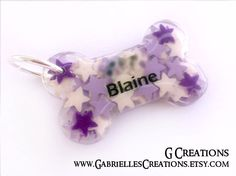Purple Starry Bone Dog Tag ID - Custom Color - Handmade Star Kawaii - Dog ID Pet Tag - Dog Accessories Resin - Colorful Dog Collar Accessory (28.00 EUR) by GabriellesCreations