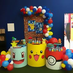 Birthday Party Snacks, 6th Birthday Parties, 7th Birthday, Pokemon Party Decorations, Birthday Party Decorations, Party Themes, Pokemon Themed Party, Pokemon Birthday, Pikachu Halloween Costume