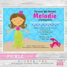 Mermaid 2 202 Personalized Birthday Party by PinkPickleParties, $10.00