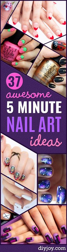 Quick Nail Art Ideas - Easy Step by Step Nail Designs With Tutorials and Instructions - Simple Photos Show You How To Get A Perfect Manicure at Home - Cool Beauty Tips and Tricks for Women and Teens http://diyjoy.com/quick-nail-art-ideas