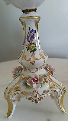 4 of 11: ANTIQUE DRESDEN  PORCELAIN  CANDLEHOLDER HAND PAINTED ORNATE SIGNED BY H.KOCH