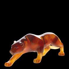 Daum glass | Daum Crystal Panther Amber 02466 1 New in Box Mint | eBay