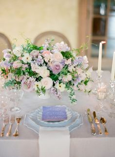 Dreamy Lilac + Blush Wedding Inspiration Gallery - Style Me Pretty Spring Wedding Flowers, Wedding Table Flowers, Wedding Centerpieces, Floral Wedding, Wedding Colors, Wedding Decorations, Wedding Reception, Elegant Wedding, Wedding Dress