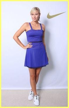 EUC NIKE MARIA SHARAPOVA BLUE GRAPE VELVET GRAY TRIM MESH TENNIS DRESS Sz S 4 6 #Nike #SkirtsSkortsDresses