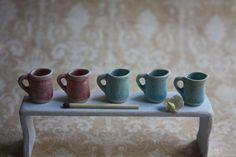 Tiny ceramic jugs for dollhouse 1:12 from Katis miniature ceramics 1:12 by DaWanda.com