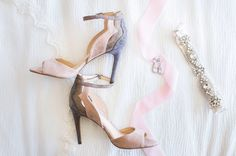 Grey-and-Pink Bridal Heels, Garter
