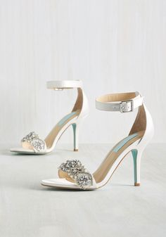 Astound of Music Heel by Blue by Betsey Johnson - White, Solid, Rhinestones, Wedding, Bride, Luxe, Summer, Best, White, White, Mixed Media, High, Party