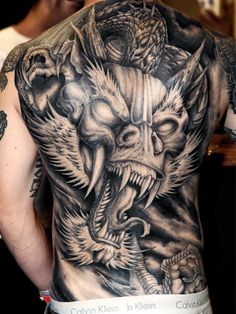 Wow! Dragon black and white back piece. #inked #mltattoocare