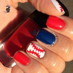 thecraftyninja baseball #nail #nails #nailart
