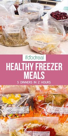 Recipes On A Budget Healthy Freezer Meals you can cook in an Instant Pot or a slow cooker. These 5 healthy freezer meals will save you a ton of time without compromising taste and flavor. Here's how to prep 5 healthy freezer meals with complete recipes. Healthy Frozen Meals, Healthy Family Meals, Make Ahead Meals, Healthy Recipes, Family Recipes, Budget Recipes, Meal Recipes, Recipies, Budget Freezer Meals