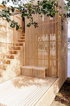 "Check out this outdoor installation by Kollaboratoriet using slatted wood partitions. See how to ""Step Up Your Staircase Game with This Modern Design Trend"" architecture outdoor Yay or Nay: Step Up Your Staircase Game with This Modern Design Trend? Wooden Stairs, Wooden Pergola, Wooden Terrace, Metal Pergola, Pergola Plans, Pergola Kits, Pergola Garden, Pergola Ideas, Pergola Screens"