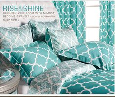 Love the texture and color! Pair this with grey walls and a solid color sheet for a Glam Bedroom Hideaway! Aqua Bedding, Turquoise Bedding, Stylish Home Decor, Down South, Grey Walls, My New Room, Bedroom Decor, Glam Bedroom, Houses
