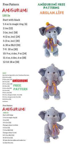 Cute Elephant, Free Crochet, Free Pattern, Crochet Patterns, Life, Amigurumi, All Free Crochet, Crochet Pattern, Sewing Patterns Free