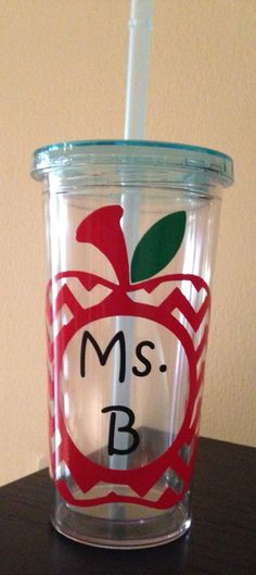Teacher gift.  Vinyl on acrylic cup.  Cameo silhouette