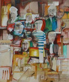Título: Ciudad de la Alegría   Autor: Alvaro Galindo Vácha   Dimensiones: 120 x 100 cm   Técnica: Óleo sobre tela   Año: 2001   Firmado: Frente