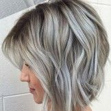 Many Dimensional Silver Grey Hair Color Ideas for Short Hairstyles 2018