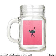 Abstract Ostrich Mason Jar