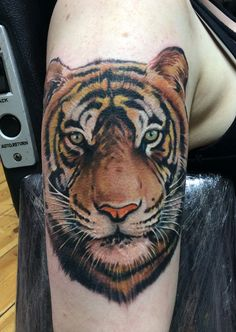 #Realistic #Tiger #tattoo in #color #ink #animal-tattoo #tattoo-idea #Dublin #Ireland #studio #parlor
