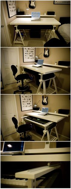 Desk/keyboard stand. I have been noodling this idea for ages, but couldn't make it work. Finally found someone who did!