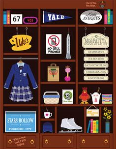 Gilmore Girls Bookcase Art Print Poster
