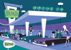 Universal monsters drive-in by Shag - mid-century style modern art