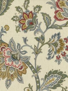 Wallpaper Traditional Jacobean Floral Multi Color on Cream Red Blue Gold Green